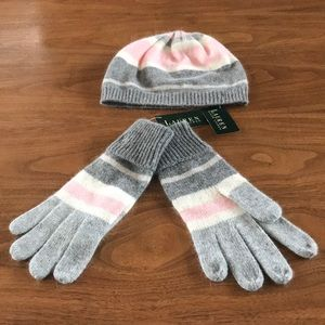 NWT Ralph Lauren beanie and gloves set